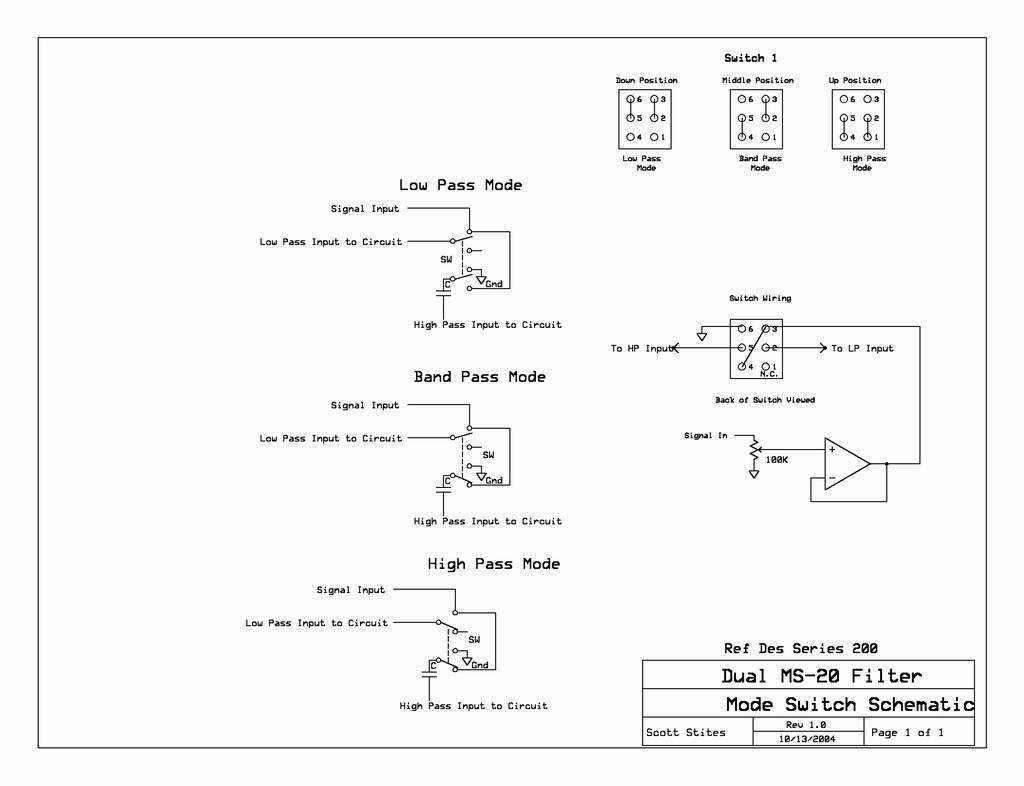 Dual Ms 20 Filter High Pass Diagram Response Switch Schematic